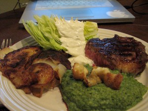 Rib Eye Steak, Lettuce Wedge with Blue Cheese Dressing, Cottage Fries and Creamed Green Goodness