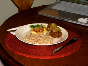 Chicken Picatta, Israeli Couscous and Eggplant-Mozzarella Sandwiches