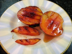 Mouth Watering Grilled Nectarine with Coconut-Cream, Maple Syrup Sauce