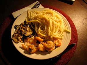 Shrimp Scampi, Grilled Eggplant and Perciatelli with Parmesan