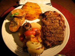 Steak,Kabobs,Pineapple,Potatoes